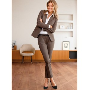 Tall administrative assistant in a beautiful outfit. Brown pants and jacket, white shirt